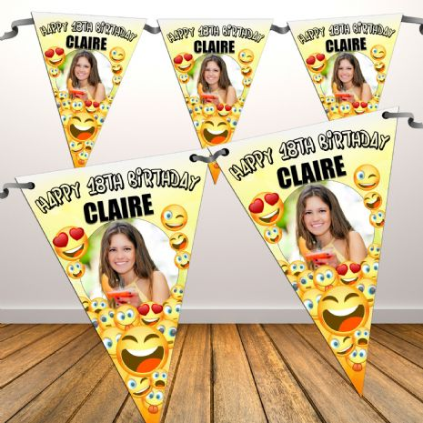 Personalised EMOJI Happy Birthday Flag PHOTO Bunting Banner - N81 ANY AGE